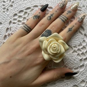 Statement Large Acrylic Rose Cocktail Ring